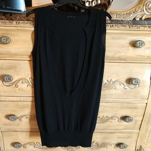 Theory 100% Cashmere Black Tunic Vest. Small
